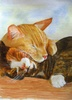 Sleeping cats by J.Tindale Watercolour