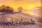 Winter Sunset by J.Tindale Watercolour